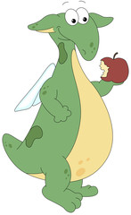 Green dragon eating red yummy juicy apple