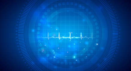 Cardiogram, normal heart rhythm on an abstract background