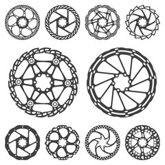 Vector illustration set of silhouettes of a bicycle brake disc, isolated on a colored background.