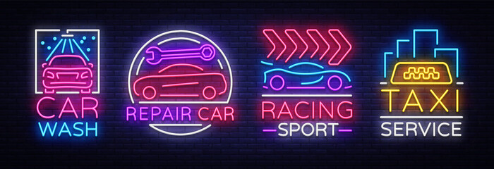 Collection neon signs Transport. Neon logo emblems, Taxi service, Car wash, auto service, car repair, street racing. Design template, light banner, nightly neon advertising. Vector Illustrations Fotomurales