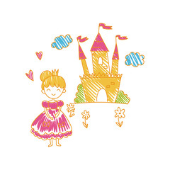 Colorful childish drawing of castle and princess vector Illustration can be used for poster, greeting card, banner, label, book illustration