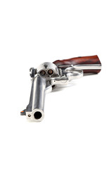 Magnum 44 revolver with bullets isolated on white background