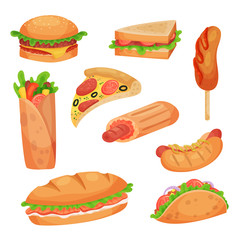 Fast food set vector Illustrations on a white background