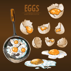 Digital vector detailed line art cooking eggs