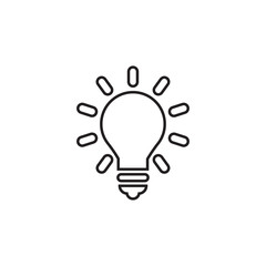 Lightbulb linear icon in a flat design in black color. Vector illustration eps10