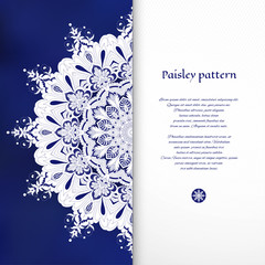 Vector card with floral round oriental pattern. Blue gradient mesh backdrop. White place for your text.