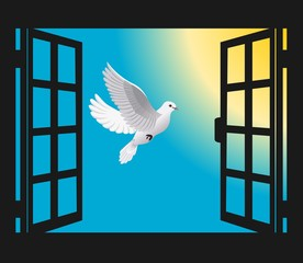 an open window and a flying dove to the sun