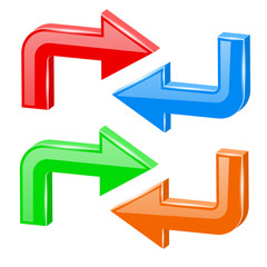 Colored turning arrows. Web 3d shiny icons