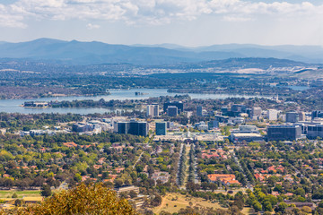 View of Canberra city from Mt. Ainslie lookout on bright sunny day