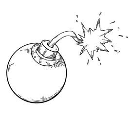 bomb icon cartoon hand drawn