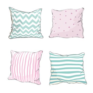 sketch vector illustration of pillow, art, pillow isolated, white pillow, bed pillow