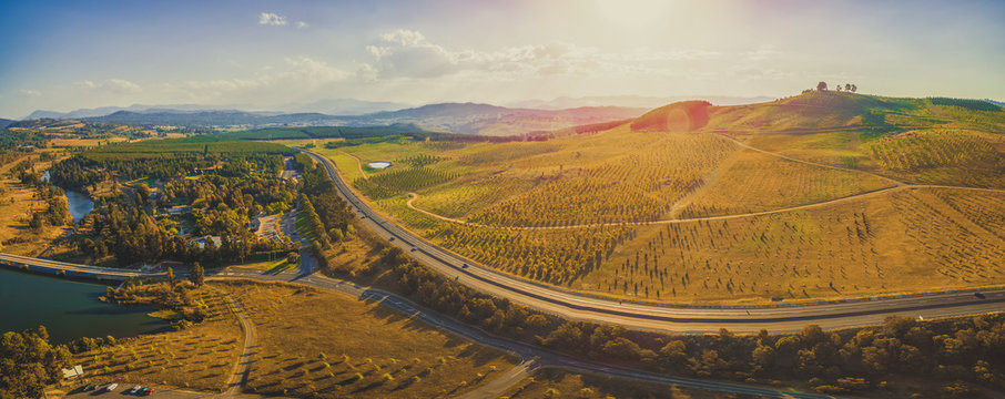 Aerial panorama of beautiful countryside in Canberra, Australia