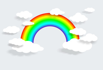 colorful rainbow with clouds