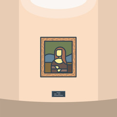Portrait of renaissance women Mona Lisa. Leonardo Da Vinci paintings. Louvre gallery. Wooden frame and old famous classic masterpiece picture. Museum vector line style vector.