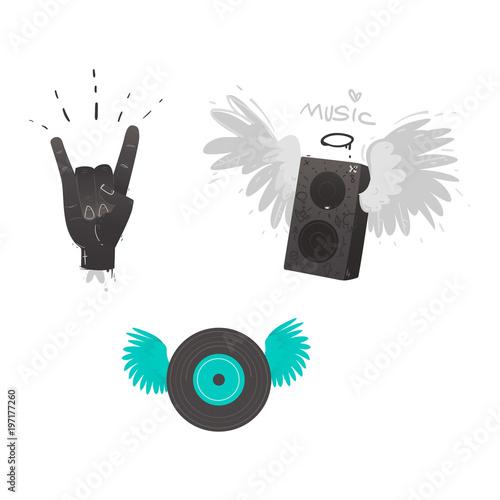 Vector Flat Music Symbols Set Hand Rock Gesture Loudspeaker With