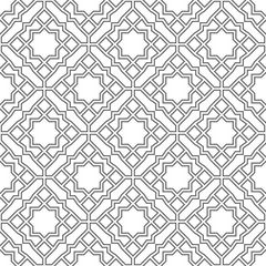 Abstract geometry pattern in Arabian style. Seamless vector background. White and grey graphic ornament.
