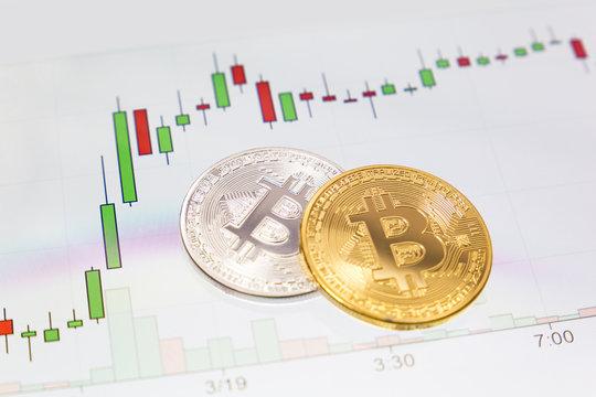 Bitcoin mit Kerzendiagramm im Hintergrund
