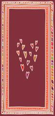 Valentine's day card, hearts in doodle frame. Vertical DL size.
