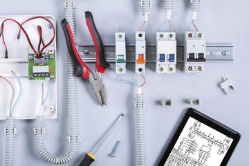 Set electrical equipment and tools for repair electricity distribution box