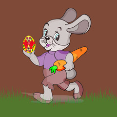 Easter illustration. Gray hare with a carrot in the hands holding an easter egg, cartoon on a brown background,