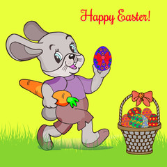 Easter illustration. Gray hare with a carrot in hands holding an easter egg, and a basket with eggs on the grass, cartoon on a yellow background,