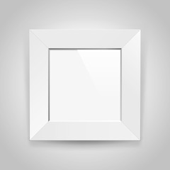 Realistic empty squre white frame on gray background, border for your creative project, mock-up sample, picture on the wall, vector design object