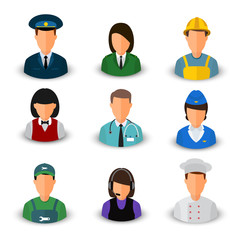 Vector set of avatars. Men and women of different professions. Eps 10