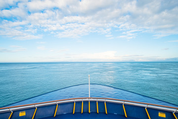 View of the front of the ferry heading to South Island, New Zealand.