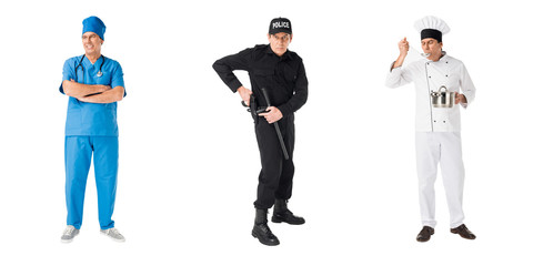 Set of male professions policeman, chef and doctor isolated on white