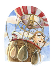 Watercolor hot air balloon illustrations isolated on white background. Hand drawn vintage air balloon with boy and dog flying in the sky. Retro image for kids cartoon magazine.
