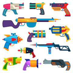 Cartoon gun vector toy blaster for kids game with handgun and raygun of aliens in space illustration set of child pistols and laser weapon isolated on white background