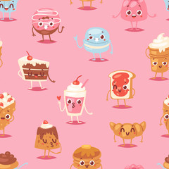 Cartoon cake character vector chocolate sweets confectionery cupcake emotion and sweet confection dessert with caked candies illustration confected donut in bakery seamless pattern background