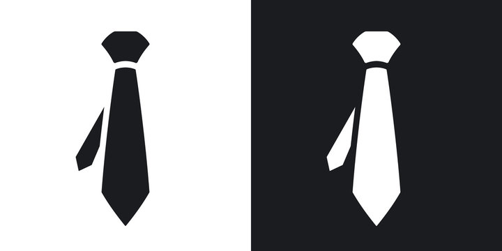 Vector necktie icon. Two-tone version on black and white background