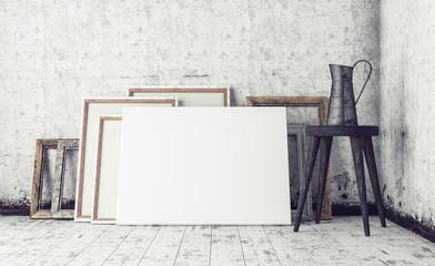 Work Space In Artist Studio, Mock Up  Interior  3d render