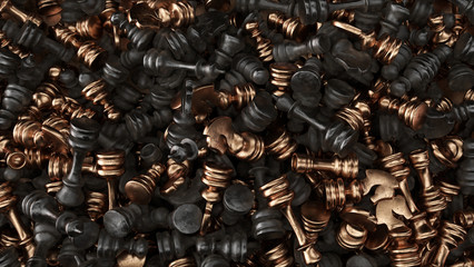 Lots of Bronze and Black Iron Chess Pieces in a big pile 3d illustration