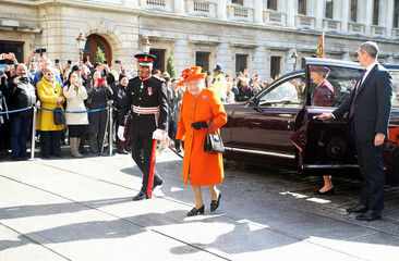 Britain's Queen Elizabeth arrives at the Royal Academy of Arts in London