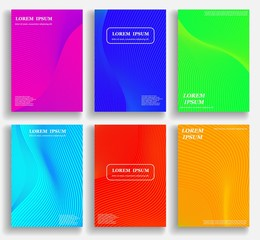 Template for cover design with geometric halftone gradients. Fluid shapes with hipster colors