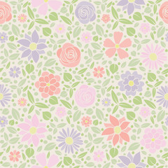 Spring background - seamless pattern with flowers. Vector..