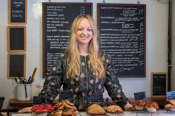 Claire Ptak, owner of Violet Bakery in Hackney, east London, who has been chosen to make the cake for the wedding in May of Prince Harry and Meghan Markle poses for a portrait in London