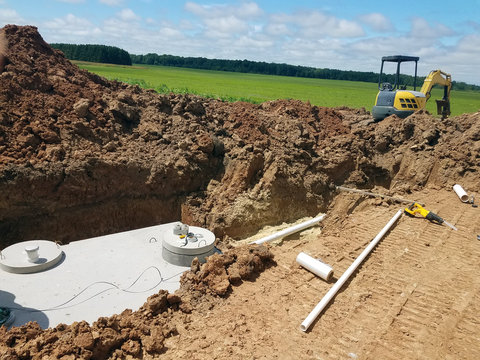 Concrete Septic holding tanks being buried