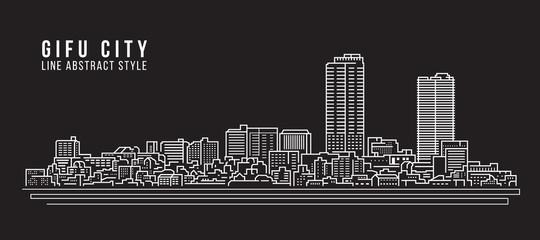 Cityscape Building Line art Vector Illustration design - Gifu City