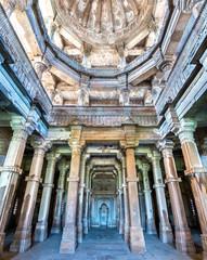 Interior of Jami Masjid, a major tourist attraction at Champaner-Pavagadh Archaeological Park - Gujarat, India