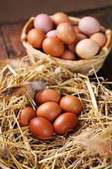 organic farm eggs in the nest