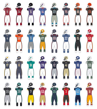 American Football Generic Color Jerseys