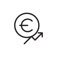 euro chart increase outlined vector icon. Modern simple isolated sign. Pixel perfect vector  illustration for logo, website, mobile app and other designs