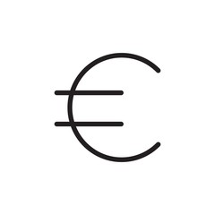 euro sign outlined vector icon. Modern simple isolated sign. Pixel perfect vector  illustration for logo, website, mobile app and other designs