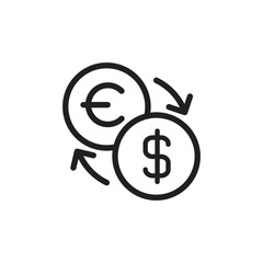 euro usd exchange outlined vector icon. Modern simple isolated sign. Pixel perfect vector  illustration for logo, website, mobile app and other designs