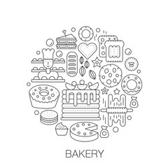 Bakery pastry in circle - concept line illustration for cover, emblem, badge. Tasty sweet food thin line stroke icons set.