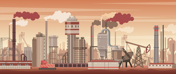 Vector chemical industrial landscape background. Industry, chemistry factory. Polluting environment.