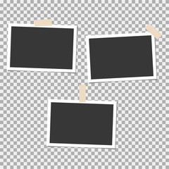 Set of photo frame with sticky tape on grey background. Template, blank for your trendy photo